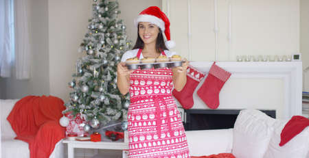 oven tray: Attractive Christmas cook in a festive apron and red Santa hat standing in front of an Xmas tree showing off her freshly baked cupcakes in an oven tray. Stock Photo