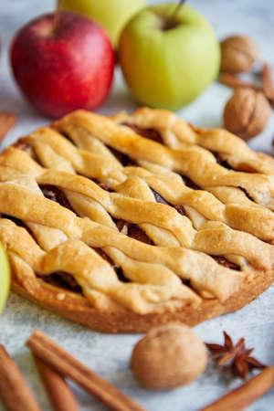 Torta di torta di mele fatta in casa gustosa appena sfornata con ingredienti sul lato. Bastoncini di cannella, mele rosse e verdi, noci e anice. Posizionato su un tavolo di pietra bluastra. Archivio Fotografico