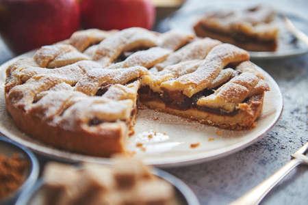 Torta di mele appena sfornata con fetta tagliata su un piatto piccolo. Con ingredienti a parte. Frutta fresca, cubetti di zucchero di canna, cannella. Cosparso di zucchero a velo.