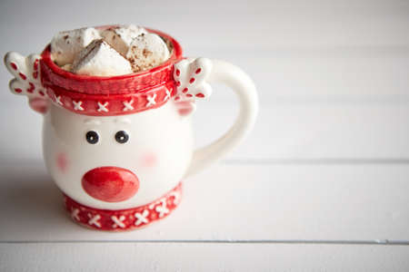 Tasty homemade christmas hot chocolate or cocoa with marshmellows