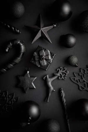 Christmas minimalistic and simple composition in mat black color Zdjęcie Seryjne