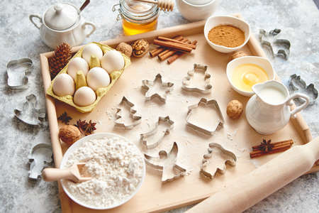 Delicious fresh and healthy ingredients for Christmas gingerbread