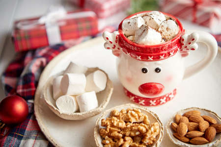 Delicious homemade christmas hot chocolate or cocoa with marshmellows Zdjęcie Seryjne