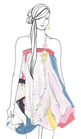 guache: Esbozo de la moda. Mujer con vestido color. Gouache y inkl dibujo