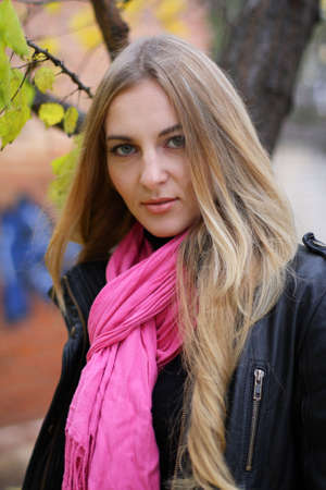 The girl in the pink scarf and black leather jacket Stock Photo - 5932469