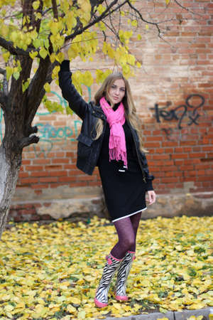 blue grey coat: The Girl Near The Tree. Autumn Stock Photo