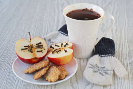 Winter still life with mulled wine photo