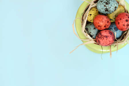 Spotted eggs on blue background with space for text Stock Photo - 6692393
