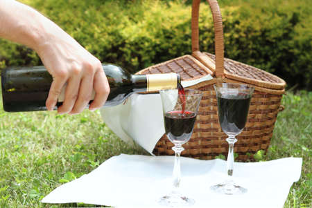 Outdoor picnic setting with wine photo