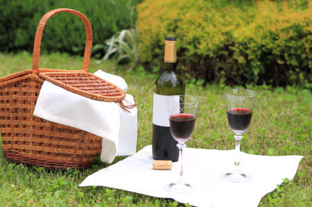 Outdoor picnic setting with wine Stock Photo - 7180315
