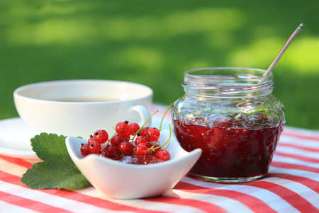 Jar of red currant jam and tea in the garden