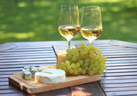 cheese plate: Various sorts of cheese, grapes and two glasses of the white wine Stock Photo