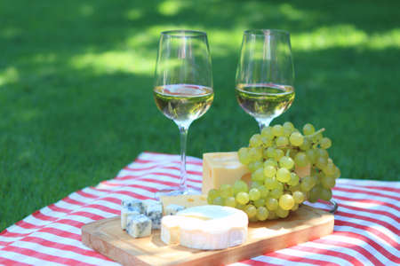 Verschiedene Arten von Käse, Trauben und zwei Gläser Weißwein