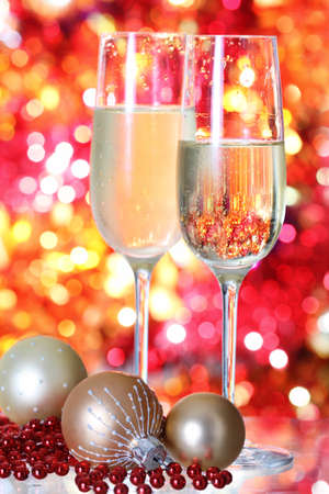 Champagne in two glasses at the christmas background Stock Photo - 8212590