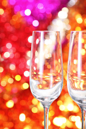 Two empty glasses for champagne on the blurred background Stock Photo - 8212622