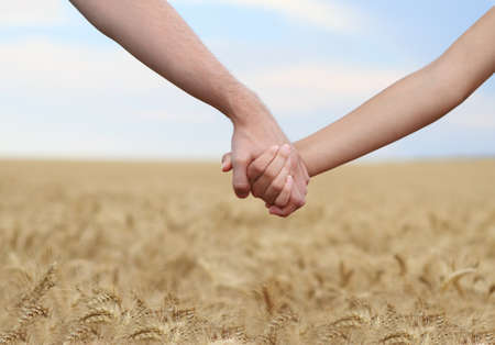 touching hands: Young couple holding hands in the field. Close-up Stock Photo