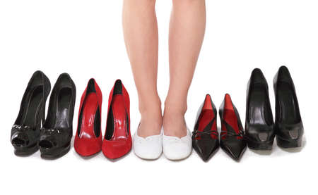 cross leg: The woman chooses the most comfortable footwear