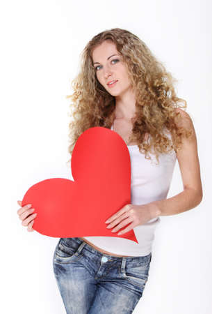 Blond girl with big red valentine card Stock Photo - 8715002