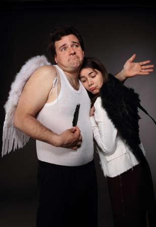 Mr. Angel and Mrs. Angel. Creepy character portrait Stock Photo - 9529946