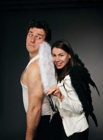 Mr. Angel and Mrs. Angel. Creepy character portrait. Stock Photo - 9529941
