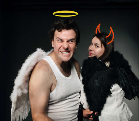 Mr. Angel and Mrs. Angel. Creepy character portrait. Stock Photo - 9529947