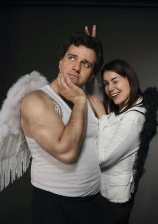 Mr. Angel and Mrs. Angel. Creepy character portrait. Stock Photo - 9529951