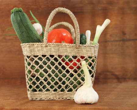 Still life with basket of the fresh vegetables  Stock Photo - 9568790