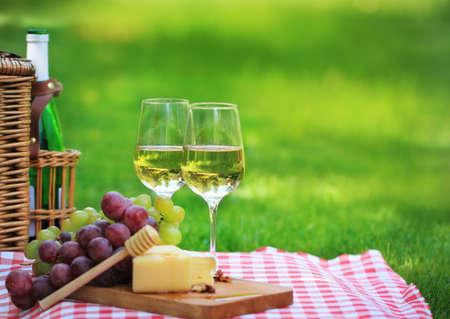 Verschiedene Arten von Käse, Trauben und zwei Gläser der Weißwein
