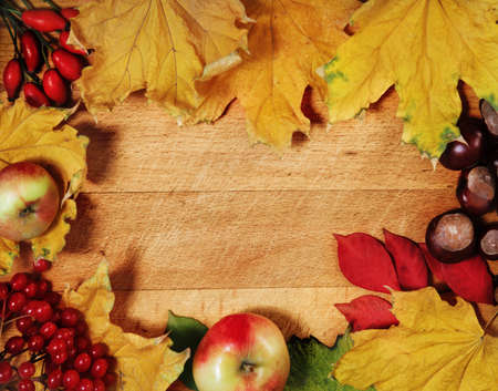 Still life with autumn leaves over wooden background photo