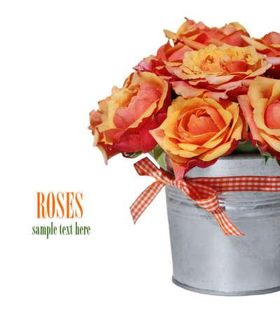 rosas naranjas: Bouquet de rosas naranjas en el bote en el fondo blanco Foto de archivo