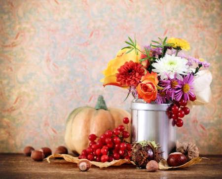 Autumn still life with pumpkin in retro style photo