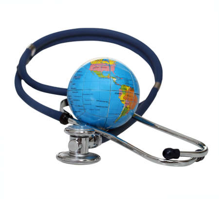 medical help: Stethoscope with globe isolated on a white background Stock Photo