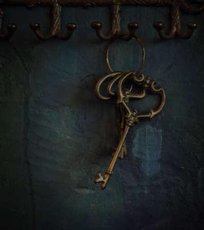 Ring of vintage skeleton keys over old rustic wall photo
