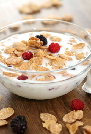 cornflakes: Healthy breakfast. Muesli with blueberry and raspberry