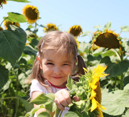 Cute little smiling child with sunflower in summer field Stock Photo