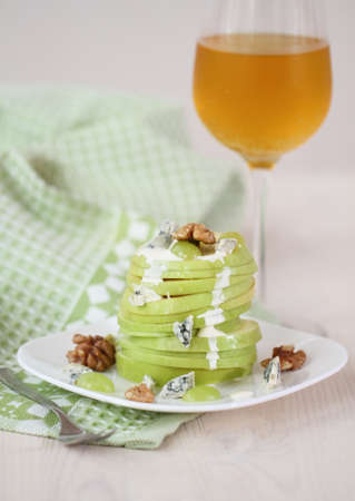 Waldorf salad with apple, cheese and walnut photo