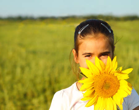 Portrait of a cute little girl hiding behind sunflower on sunny day photo