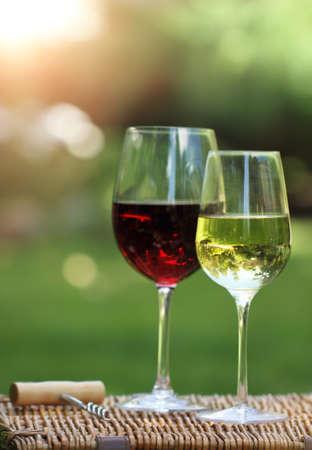 Dos vasos de vino blanco y tinto en el jardín