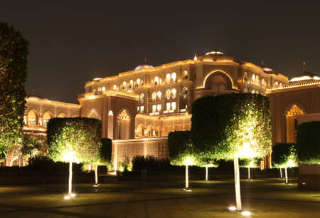 Emirates Palace Garden in the night. Abu Dhabi