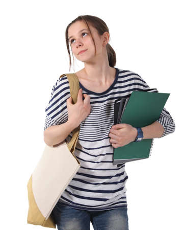 Teenager schoolgirl with textbooks against white blackboard Stock Photo - 13709394