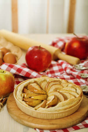 Freshly baked homemade apple pie with apples  photo