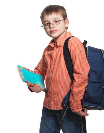 boy book: Schoolchild in glasses against white background Stock Photo