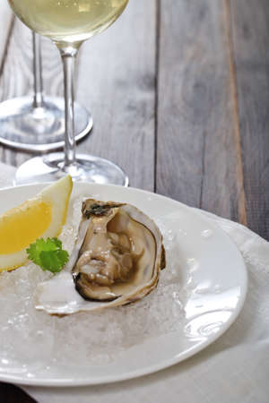 Fresh oysters platter served in ice with white wine photo