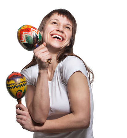 showman: Happy smiling woman with maracas. Isolated on white