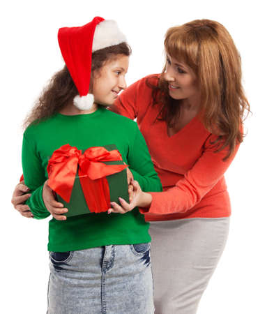 Happy child and mother with Christmas gift isolated on white background Stock Photo - 15038039