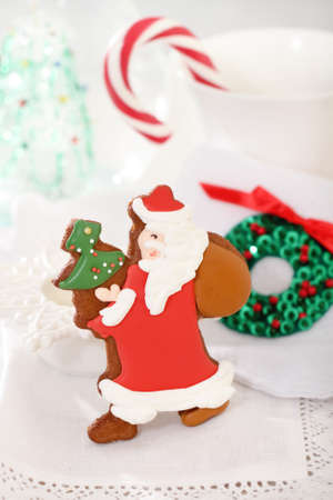 Christmas Santa cookies decorated with jam on the white background photo