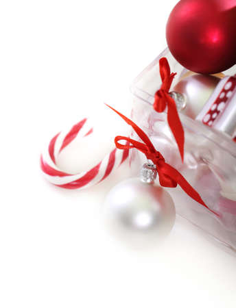 Christmas tree decorations in front of white background Stock Photo