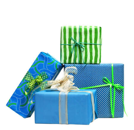 Boxes tied with a ribbon bow. A gift for Christmas, Birthday, Wedding, or Valentines day. Isolated on white  photo