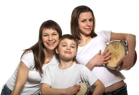 comedian: Happy smiling mother with children with drums Stock Photo