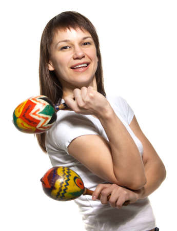 Happy smiling woman with maracas. Isolated on white Stock Photo - 15531158